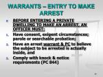 warrants entry to make arrest