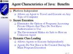 agent characteristics of java benefits