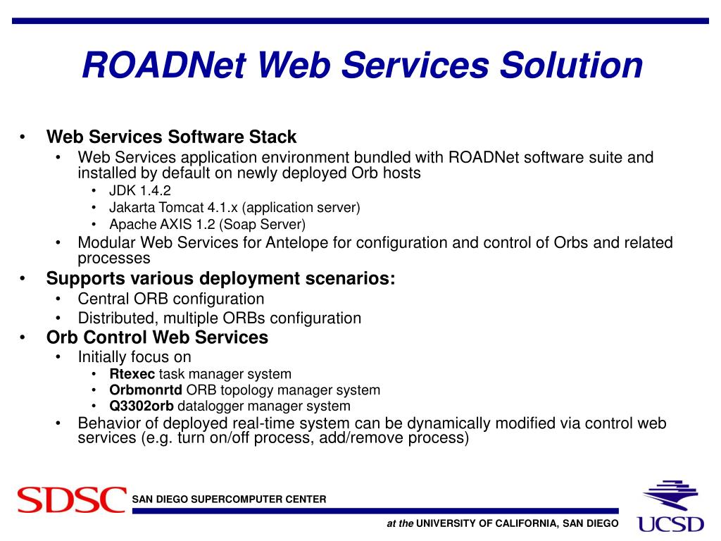 ROADNet Web Services Solution