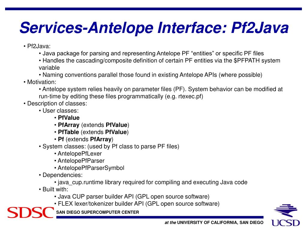 Services-Antelope Interface: Pf2Java