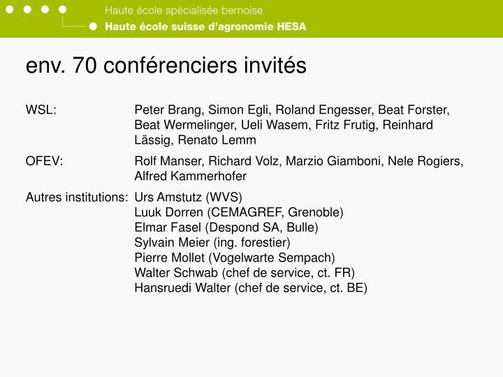 env. 70 conférenciers invités
