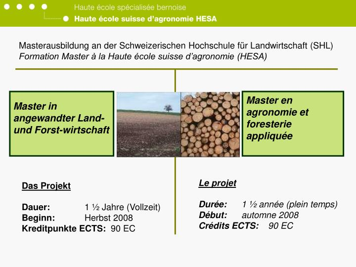 Masterausbildung an der Schweizerischen Hochschule für Landwirtschaft (SHL)
