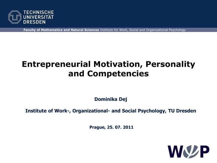 entrepreneurial motivation personality and competencies n.