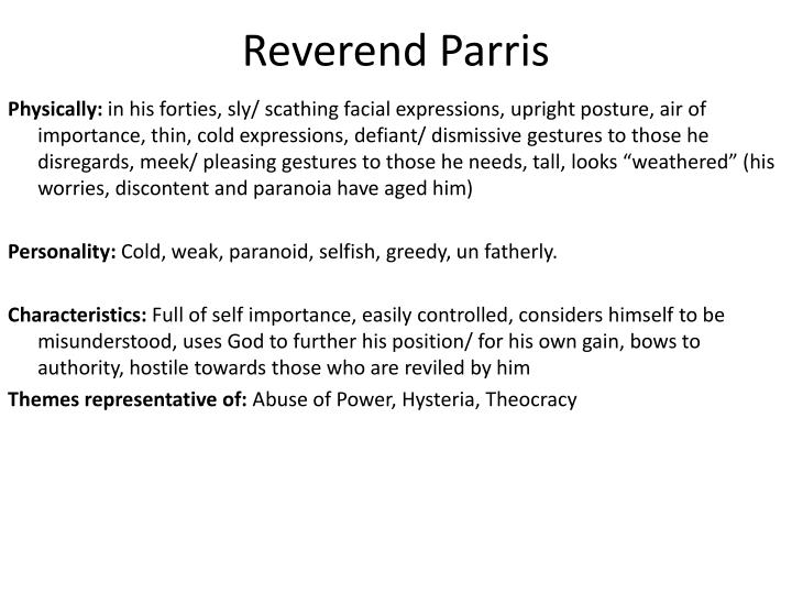 reverend parris character traits