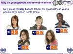 why do young people choose not to smoke