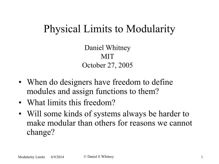 physical limits to modularity n.