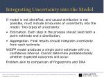integrating uncertainty into the model