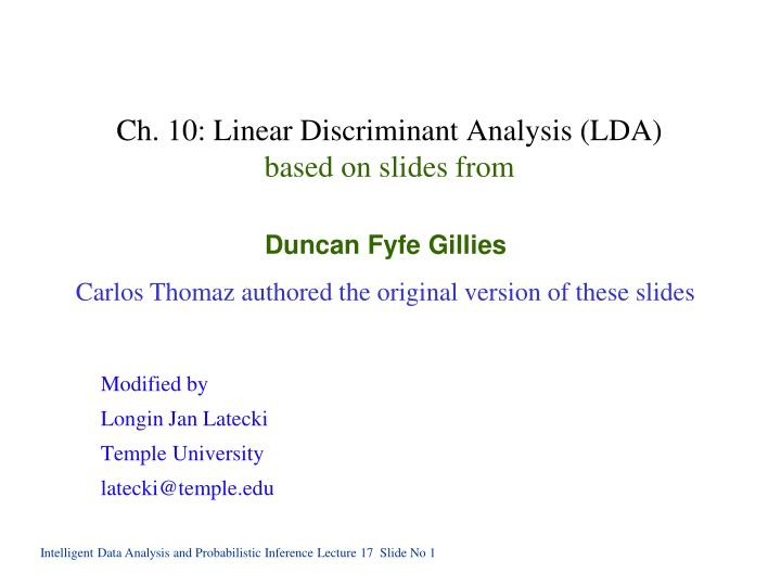 ch 10 linear discriminant analysis lda based on slides from n.