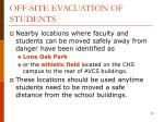 off site evacuation of students