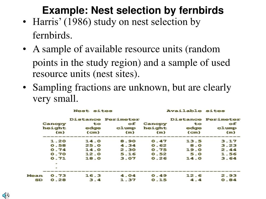 Example: Nest selection by fernbirds
