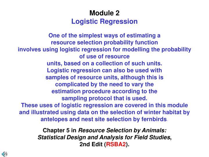 Module 2 logistic regression