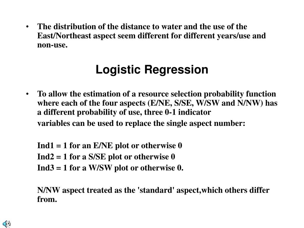 The distribution of the distance to water and the use of the East/Northeast aspect seem different for different years/use and non-use.