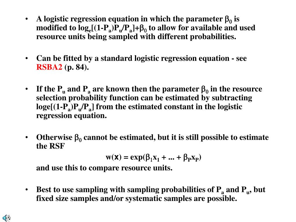 A logistic regression equation in which the parameter