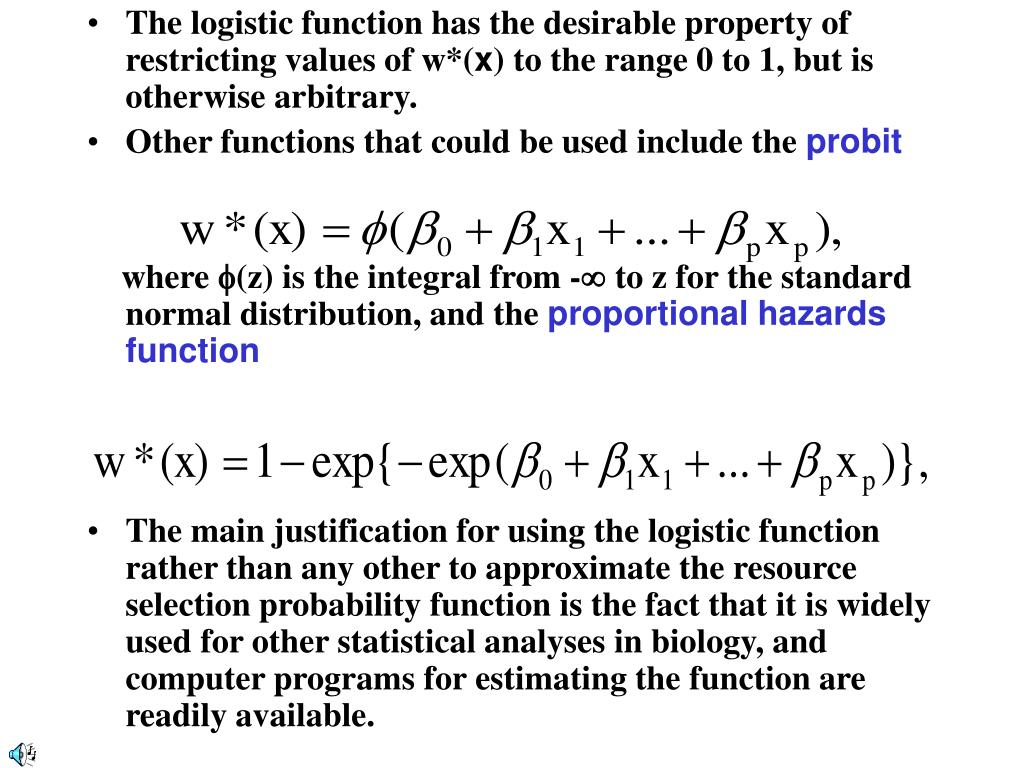 The logistic function has the desirable property of restricting values of w*(