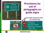 provisions for use of pictographs on guide signs