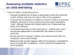assessing available statistics on child well being14