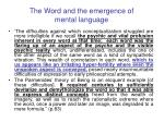 the word and the emergence of mental language