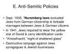 e anti semitic policies