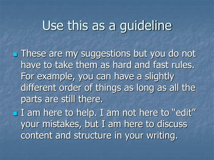 Use this as a guideline