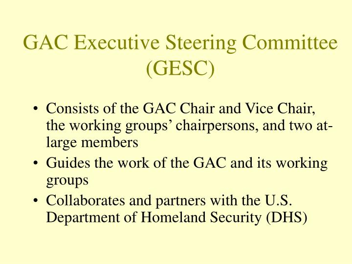 Consists of the GAC Chair and Vice Chair, the working groups' chairpersons, and two at-large members