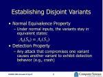 establishing disjoint variants