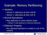 example memory partitioning