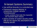 n variant systems summary