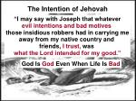 the intention of jehovah