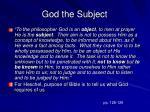 god the subject