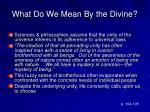 what do we mean by the divine1