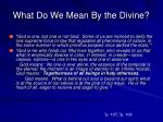 what do we mean by the divine2