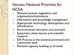vanuatu national priorities for ncsa