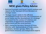 nesc gives policy advice