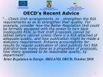 oecd s recent advice