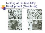 looking at cg iron alloy development structures