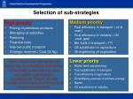 selection of sub strategies