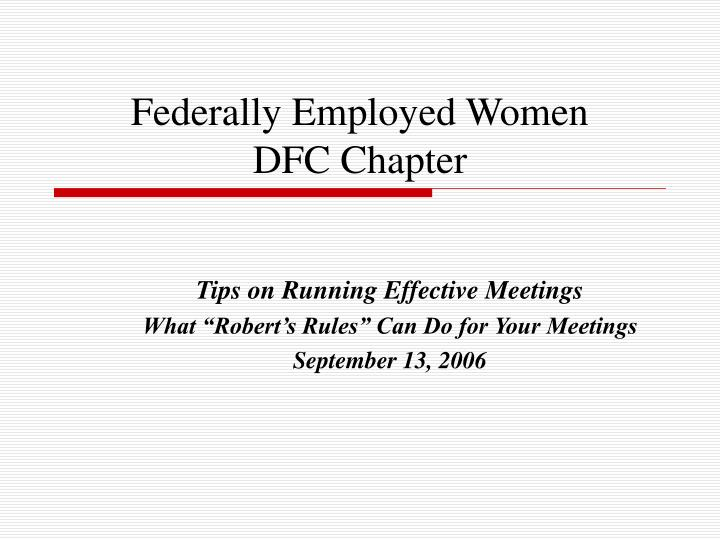 federally employed women dfc chapter n.