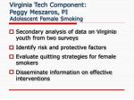 virginia tech component peggy meszaros pi adolescent female smoking