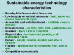 sustainable energy technology characteristics