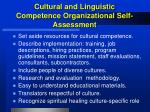 cultural and linguistic competence organizational self assessment