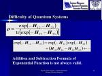 difficulty of quantum systems