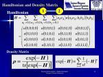 hamiltonian and density matrix
