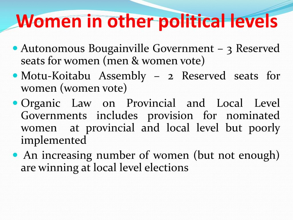 Women in other political levels