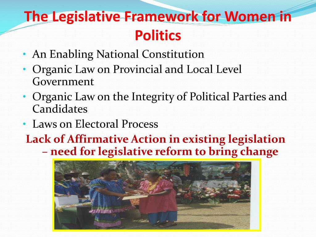 The Legislative Framework for Women in Politics