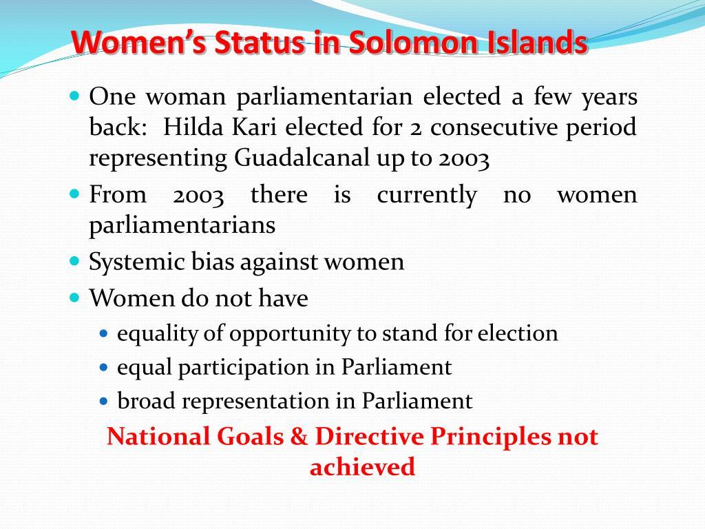 Women's Status in Solomon Islands