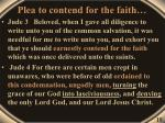 plea to contend for the faith