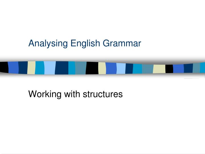 analysing english grammar n.