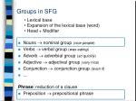 groups in sfg