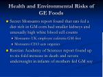 health and environmental risks of ge foods1