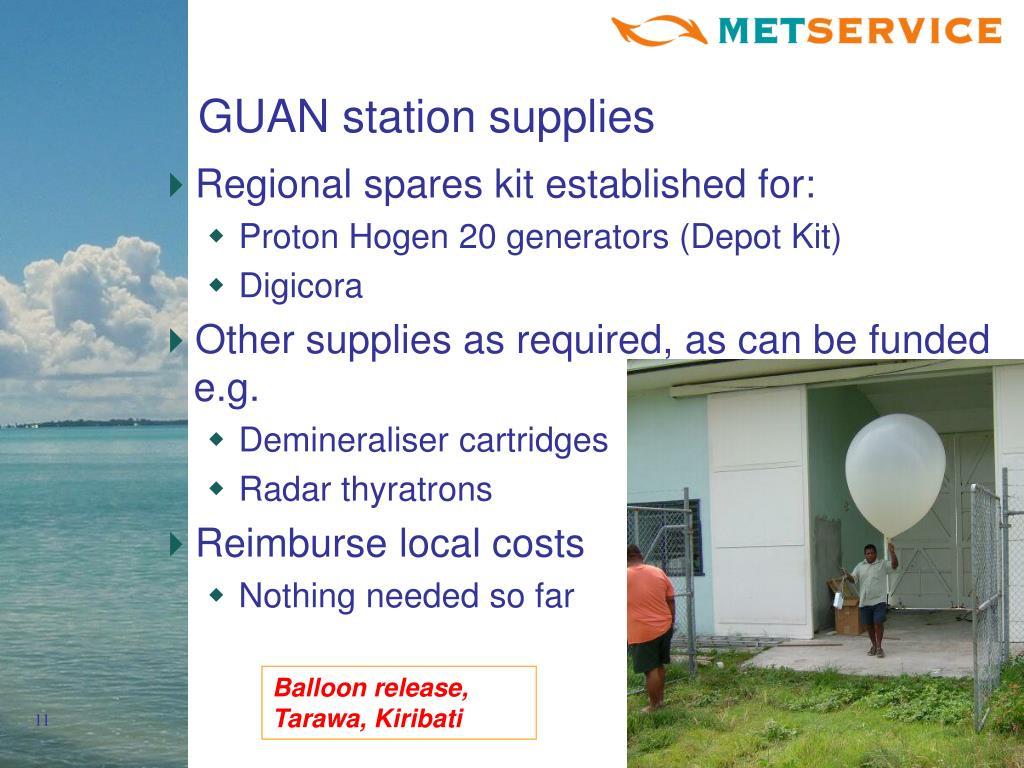 GUAN station supplies